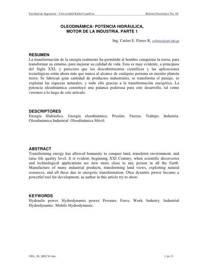 Facultad de Ingeniería - Universidad Rafael Landívar                        Boletín Electrónico No. 06                    ...
