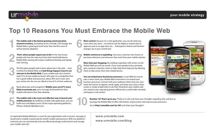 your mobile strategy    Top 10 Reasons You Must Embrace the Mobile Web  1                                                 ...