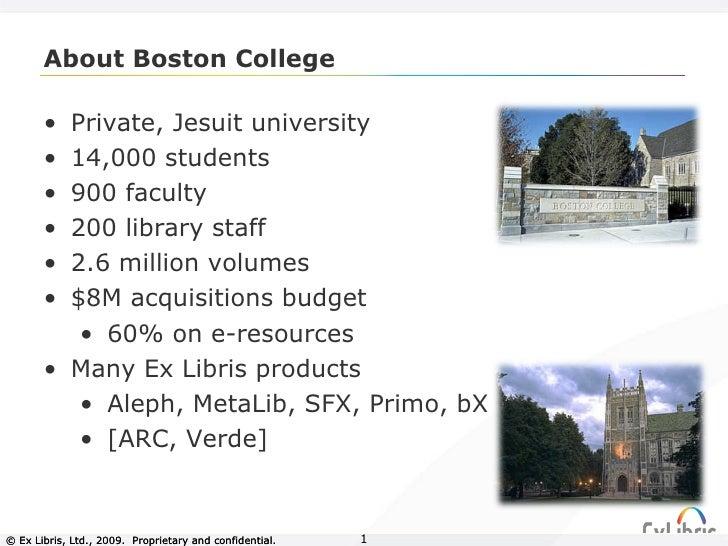 About Boston College © Ex Libris, Ltd., 2009.  Proprietary and confidential. © Ex Libris, Ltd., 2009.  Proprietary and con...