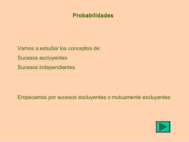 Probabilidades  Vamos a estudiar los conceptos de: Sucesos excluyentes Sucesos independientes  Empecemos por sucesos exclu...