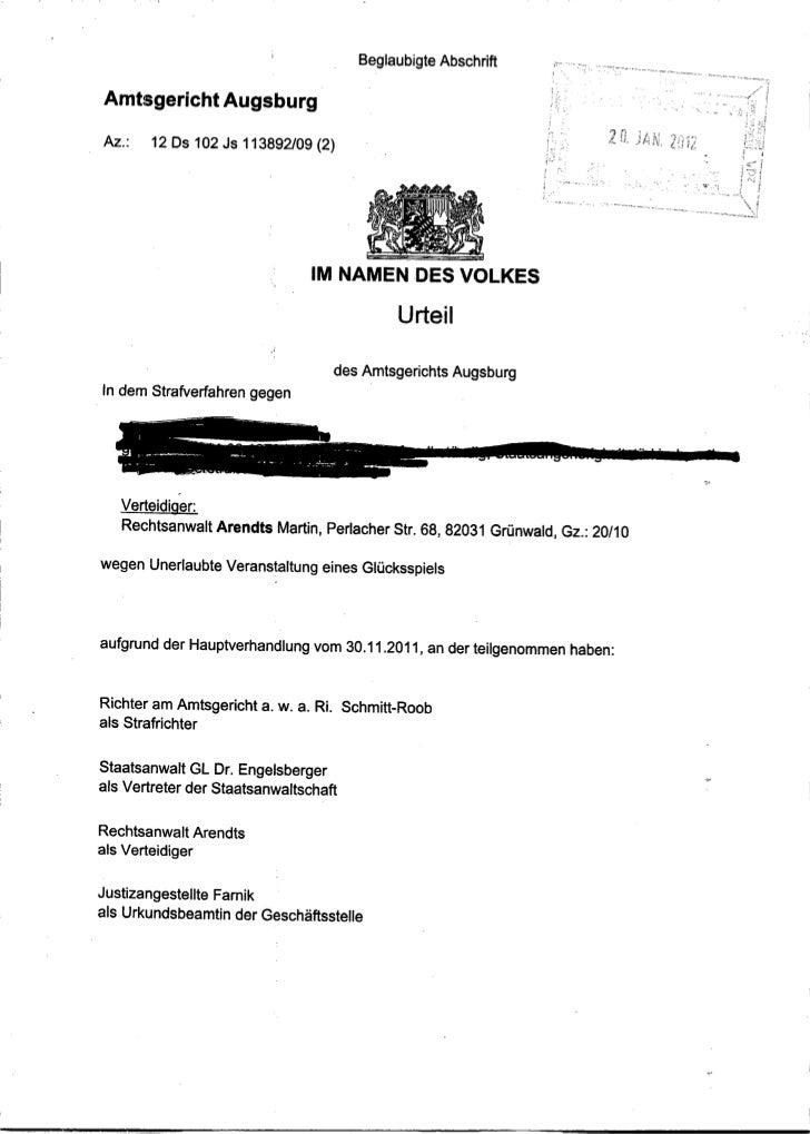 Urteil AG Augsburg 30.11.2011, Az. 12 Ds 102 Js 113892/09 (2)