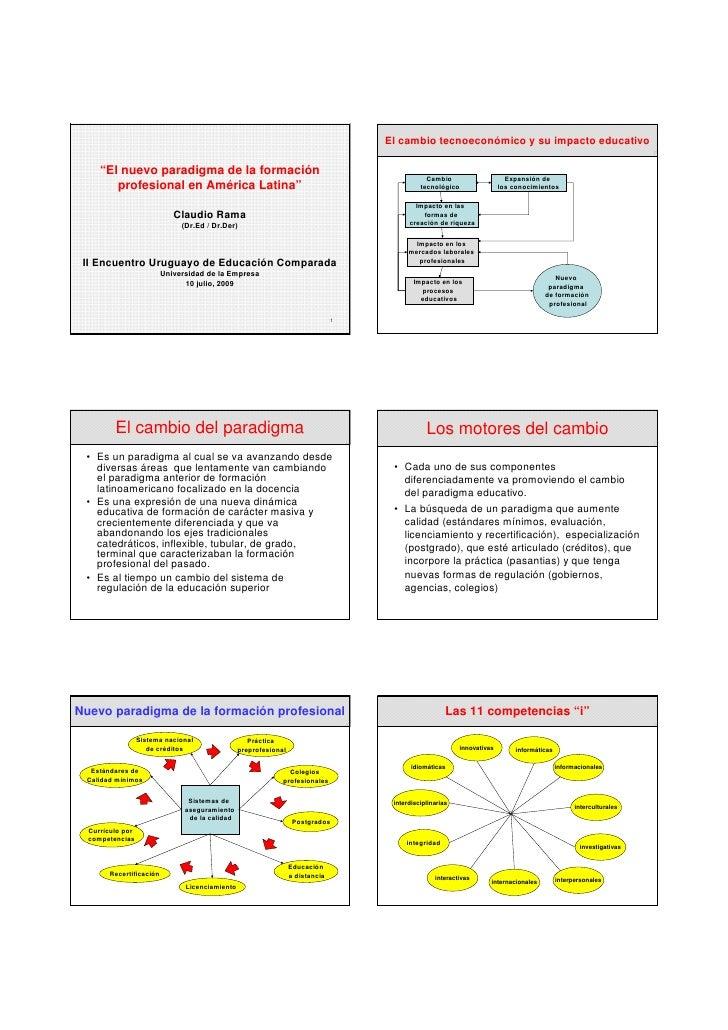 """El cambio tecnoeconómico y su impacto educativo       """"El nuevo paradigma de la formación                                 ..."""