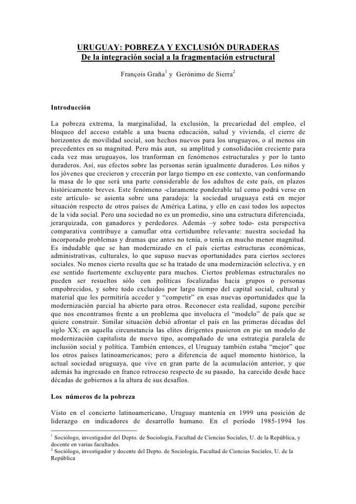 Uruguay pobreza y exclusion