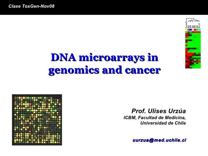 Prof. Ulises   Urzúa   ICBM, Facultad de Medicina, Universidad de Chile [email_address] DNA microarrays in genomics and ca...