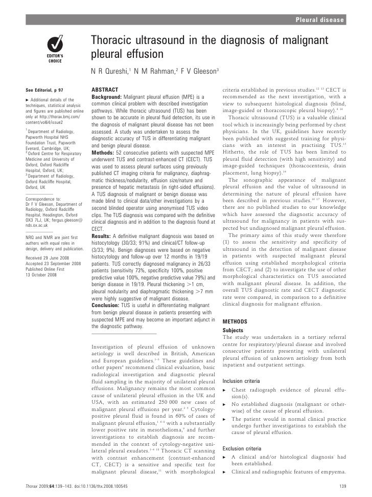 Pleural disease                                    Thoracic ultrasound in the diagnosis of malignant                      ...