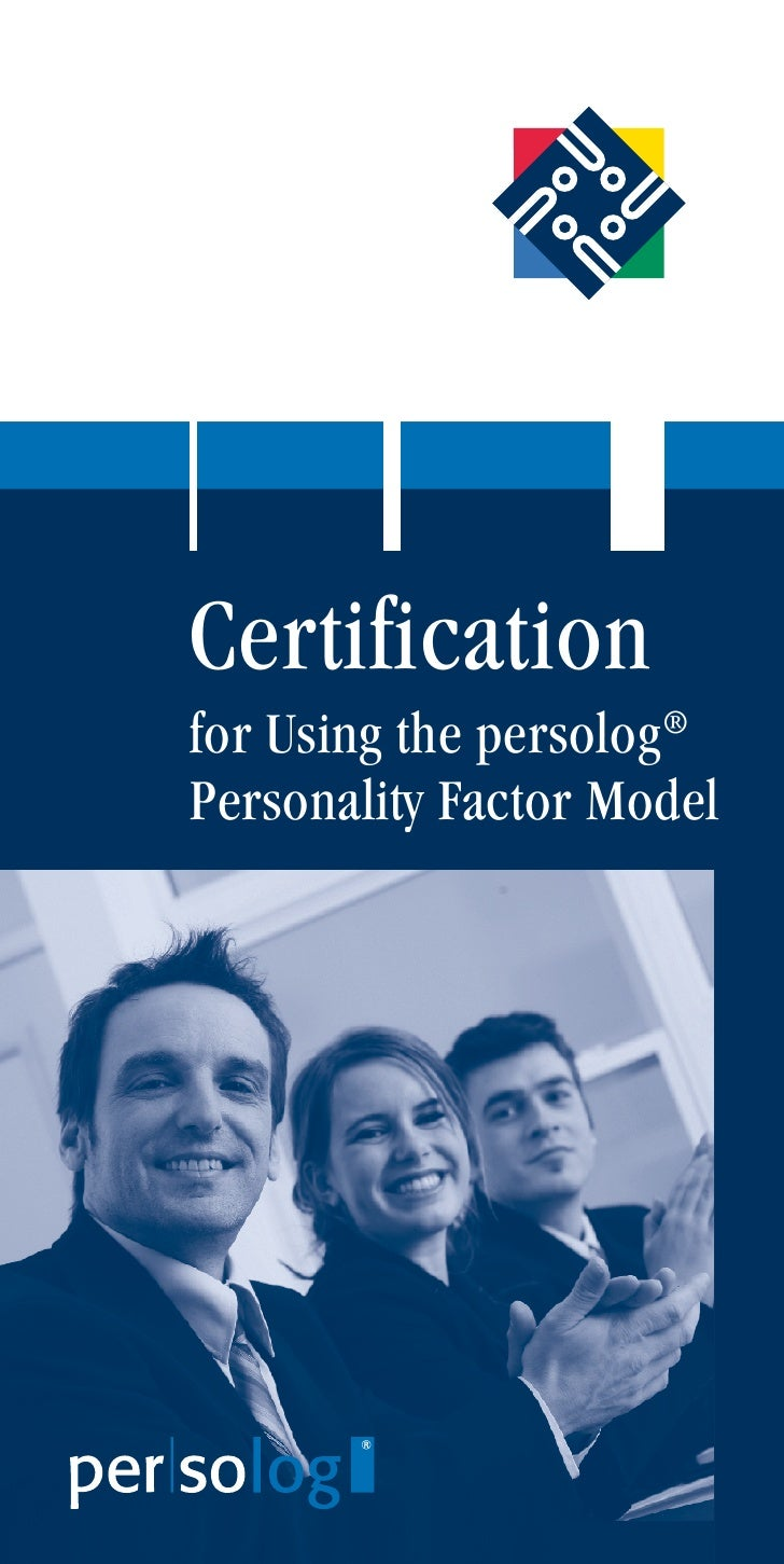Certification for Using the persolog® Personality Factor Model