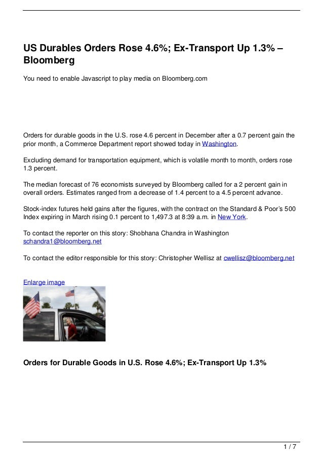 US Durables Orders Rose 4.6%; Ex-Transport Up 1.3% – Bloomberg