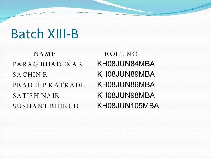 Batch XIII-B <ul><li>NAME   ROLL NO </li></ul><ul><li>PARAG BHADEKAR  KH08JUN84MBA  </li></ul><ul><li>SACHIN R KH08JUN89MB...