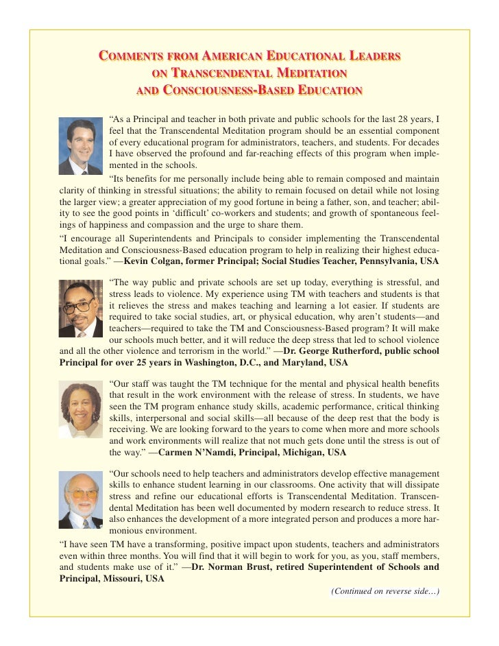 COMMENTS FROM AMERICAN EDUCATIONAL LEADERS                 ON TRANSCENDENTAL MEDITATION               AND CONSCIOUSNESS-BA...