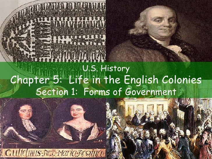 U.S. History Chapter 5:  Life in the English Colonies Section 1:  Forms of Government