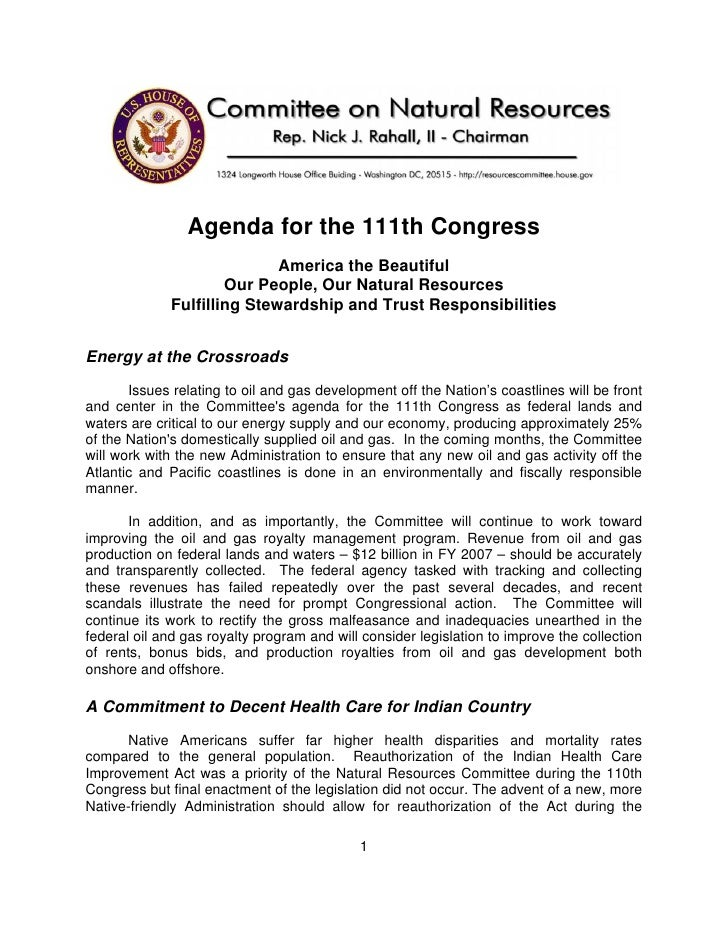Agenda for the 111th Congress                             America the Beautiful                      Our People, Our Natur...