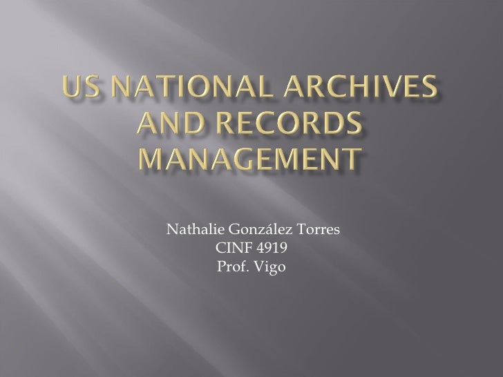 US National Archives and Records Managment