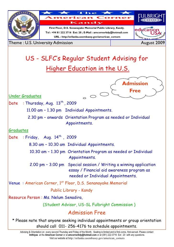 US-SLFCs Student  Advising Aug 09