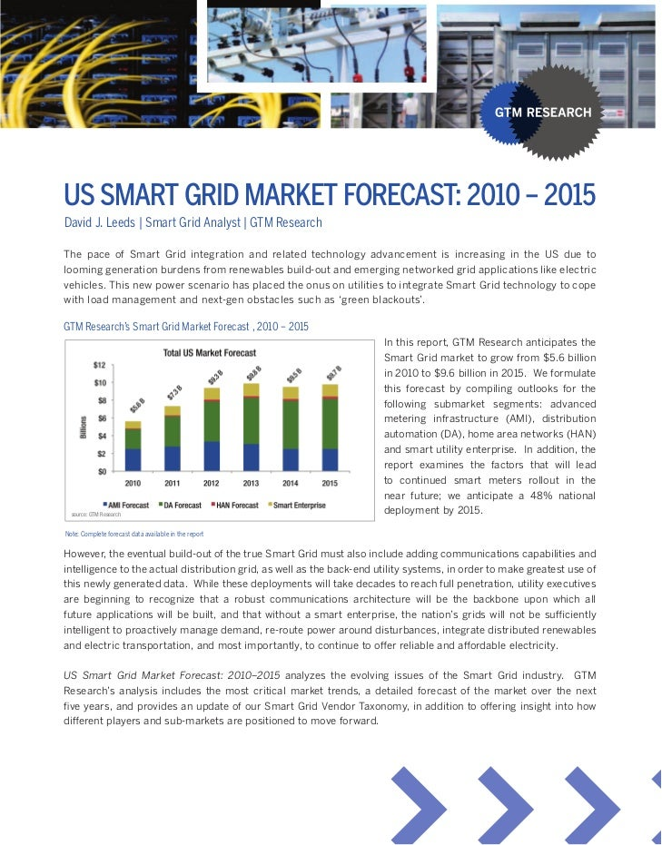 Us sMART gRid MARKeT FOReCAsT: 2010 – 2015David J. Leeds | Smart Grid Analyst | GTM ResearchThe» pace» of» Smart» Grid» in...