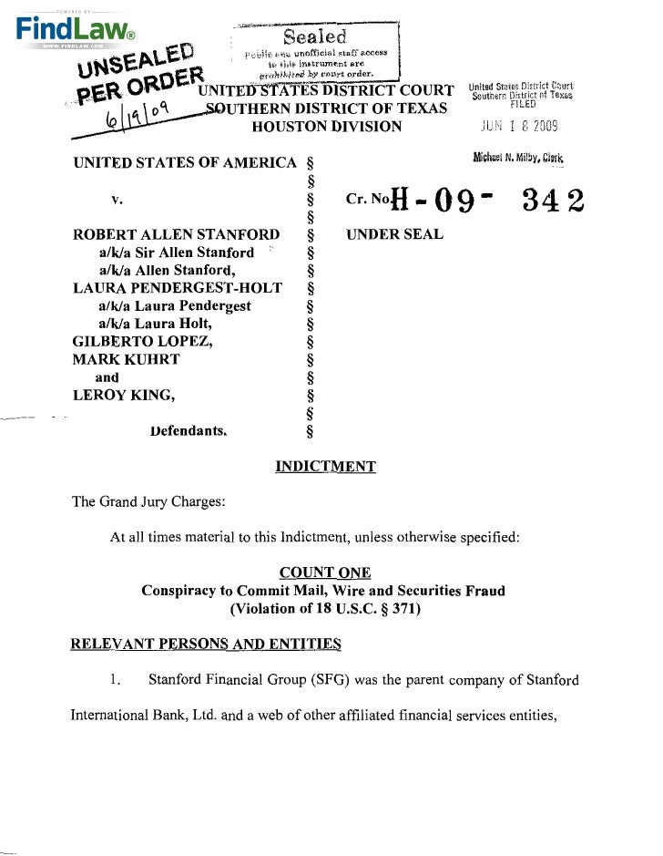 FindLaw | Indictment of Stanford Financial Group Executives, Others