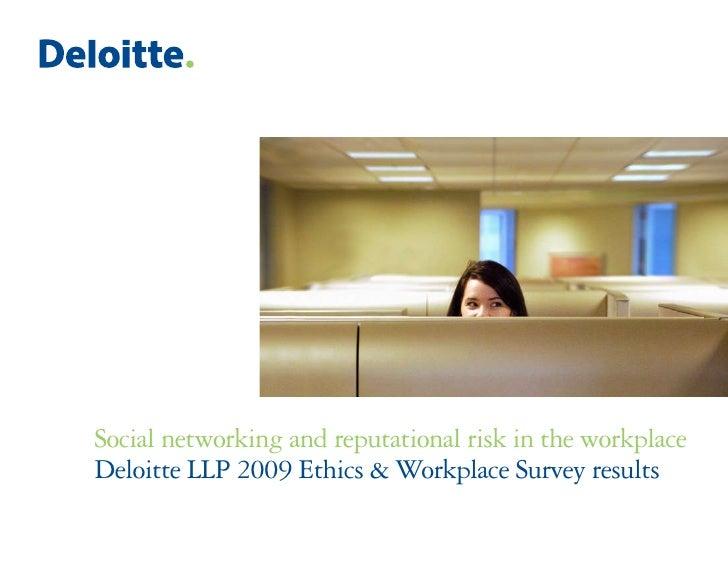 Réseaux sociaux et Réputation - Enquête Deloitte