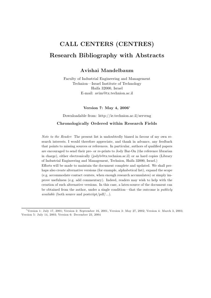 CALL CENTERS (CENTRES)                    Research Bibliography with Abstracts                                          Av...