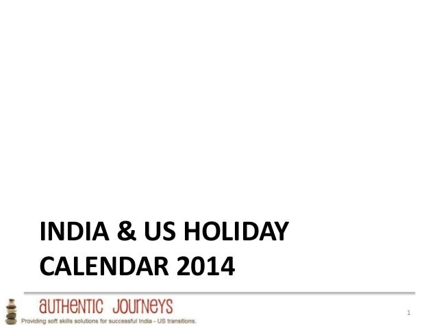 USA India Holiday Planning Calendar 2014