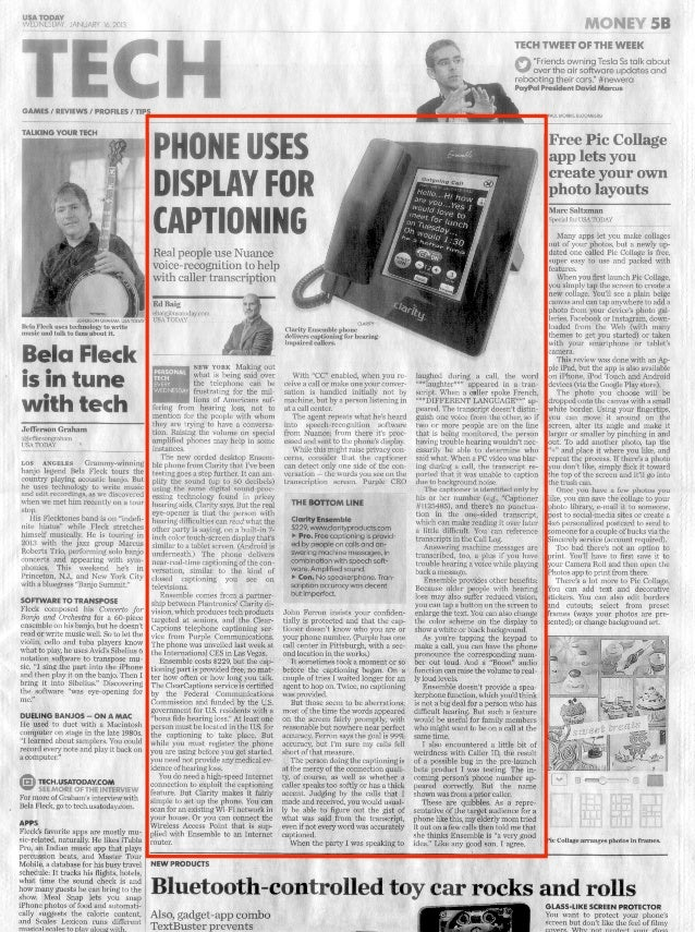 USA TODAY Print edition: Phone Uses Display for Captioning