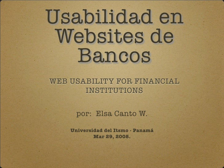 Usabilidad en Websites de Bancos