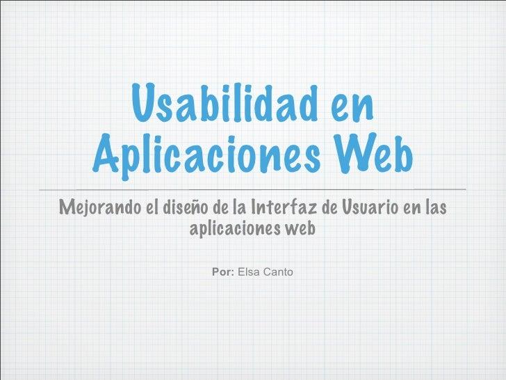 Usabilidad en Aplicaciones Web