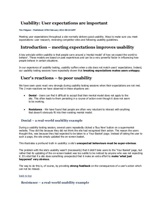 Usability: User expectations are important Tim Fidgeon - Published: 07th February 2011 08:24 GMT  Meeting user expectation...