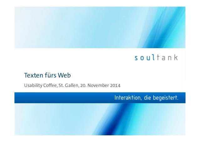 Texten fürs Web  Usability Coffee, St. Gallen, 20. November 2014