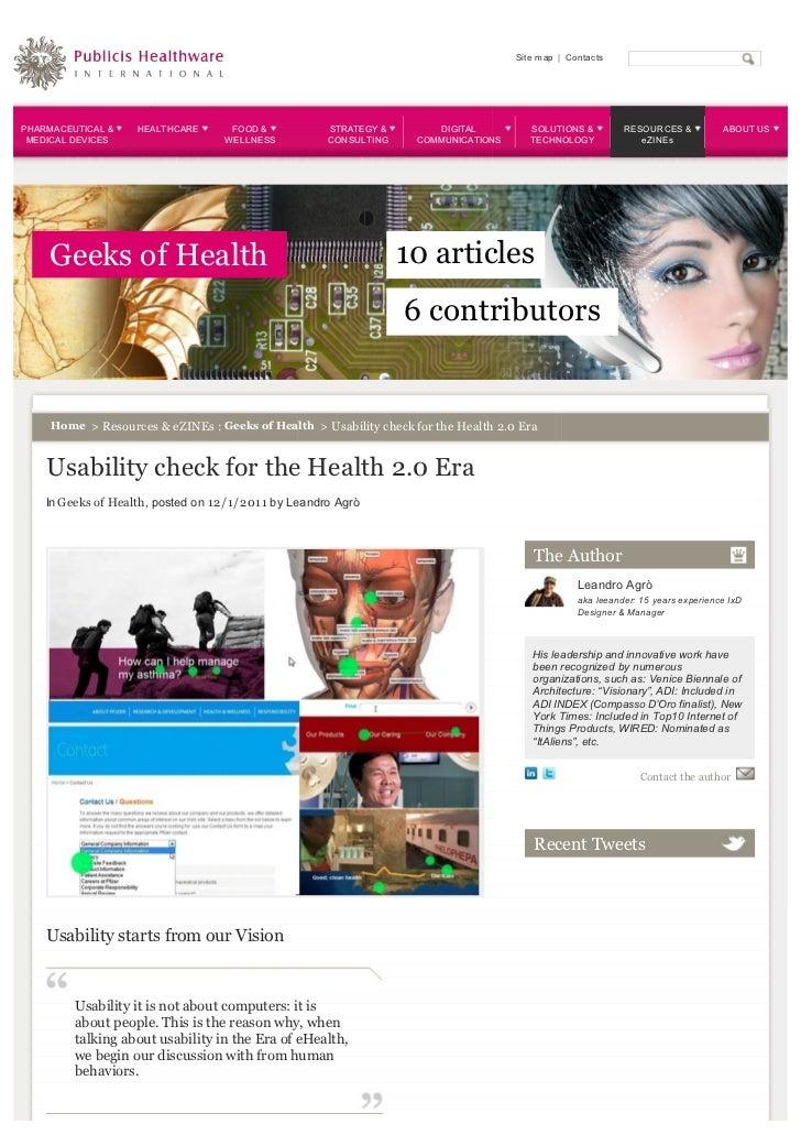 Usability check for the health 2.0 era