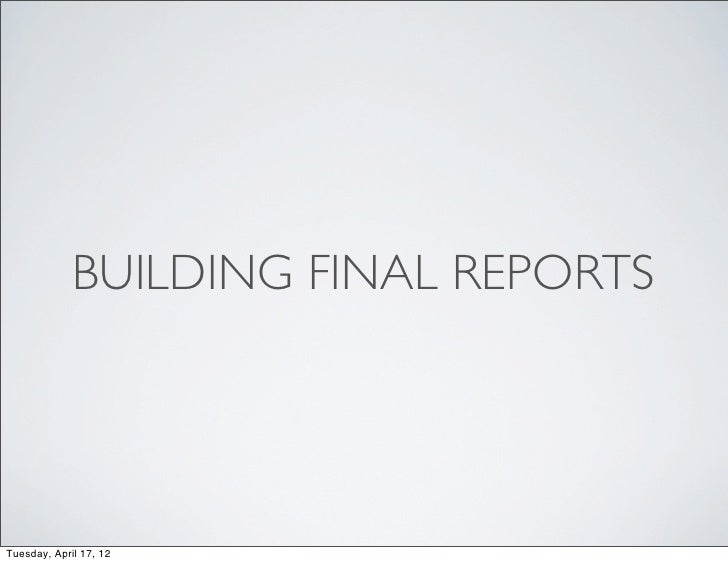 Creating Final Usability Reports