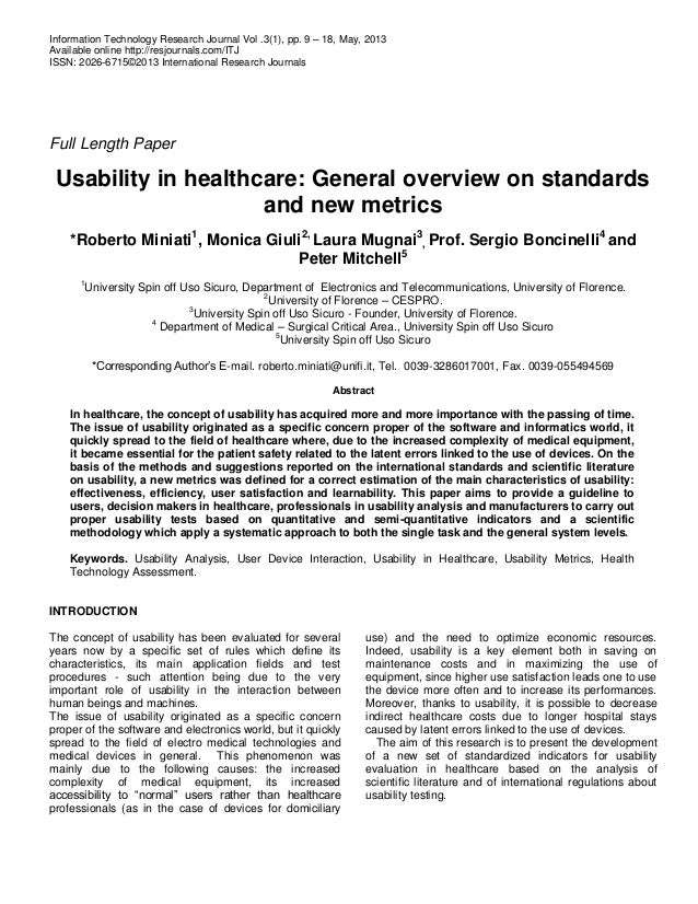 Usability in healthcare, general overview on new standards and metrics (International Research Journals)