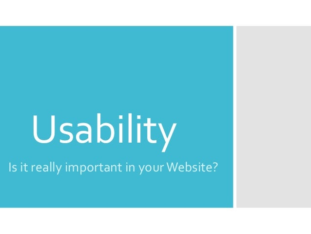 Importance of the Usability of a website