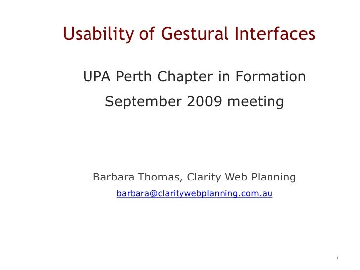 Usability of Gestural Interfaces
