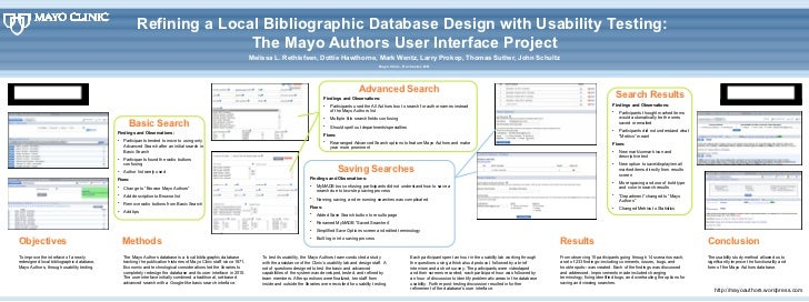 Refining a Local Bibliographic Database Design with Usability Testing:  The Mayo Authors User Interface Project Melissa L....
