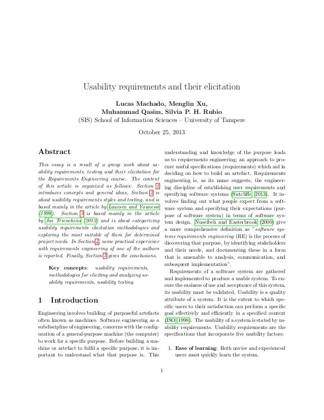 Usability requirements and their elicitation Lucas Machado, Menglin Xu, Muhammad Qasim, Silvia P. H. Rubio (SIS) School of...