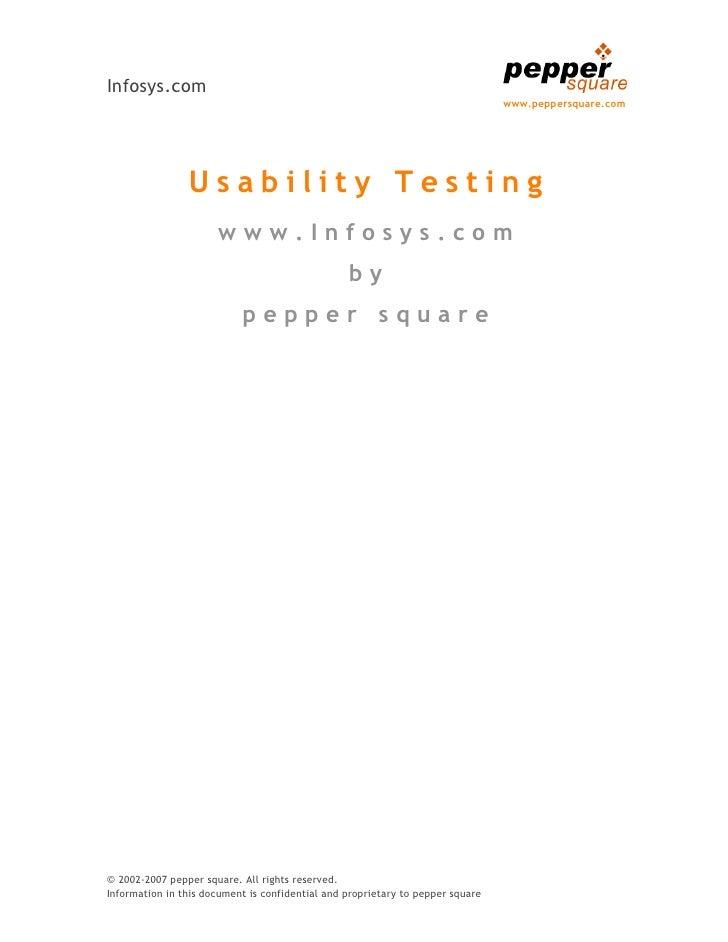 Usability Test www.Infosys.com