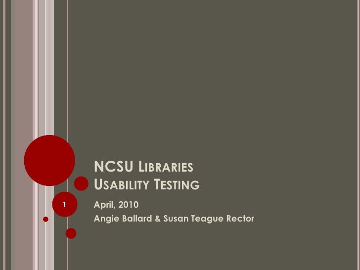 NCSU Libraries  Usability Testing