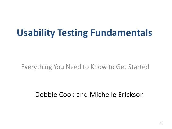 Usability Testing Fundamentals