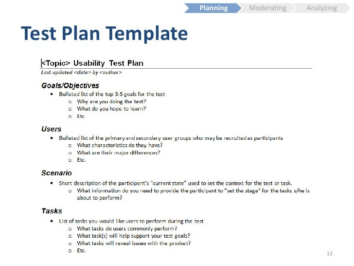 Usability testing fundamentals for Usability test plan template