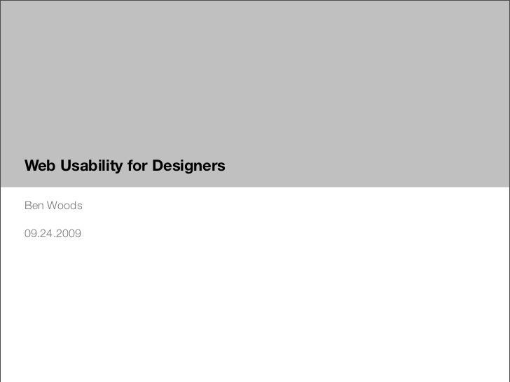 Usability for Web Designers