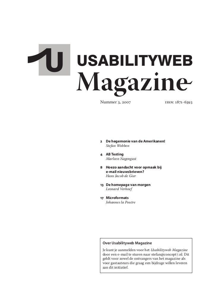 Usabilityweb magazine nr. 3
