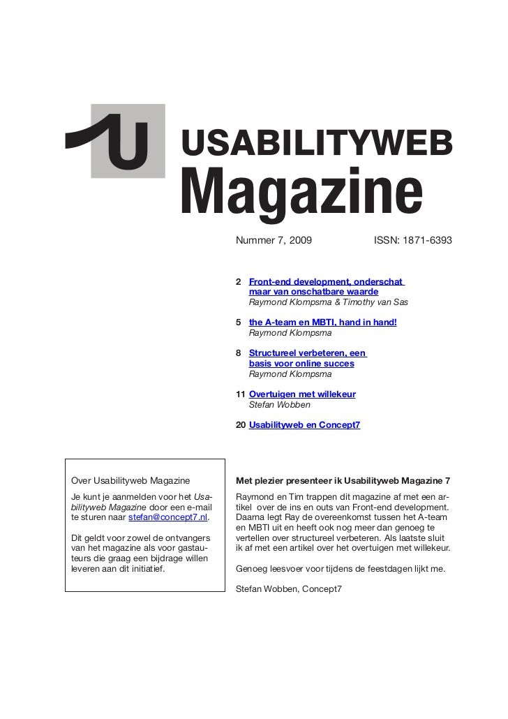 Magazine   Nummer 7, 2009                      ISSN: 1871-6393                                          2 Front-end develo...
