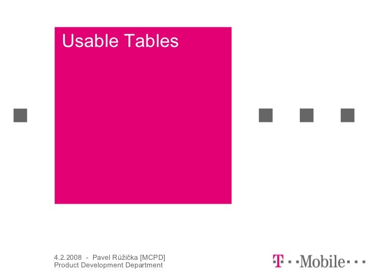 Usable Tables4.2.2008 - Pavel Růžička [MCPD]Product Development Department