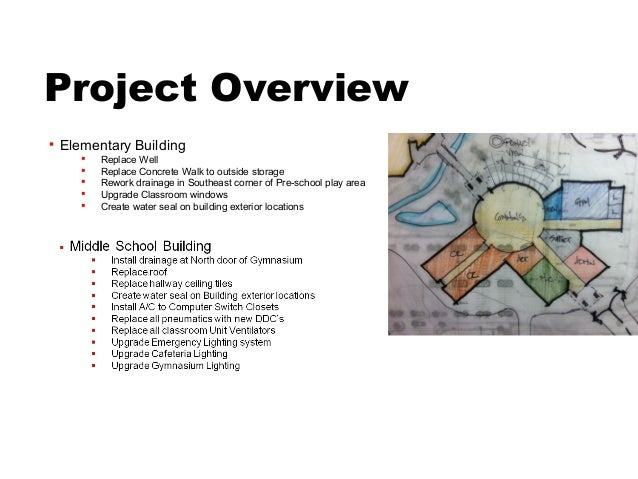 Project Overview   Elementary Building          Replace Well          Replace Concrete Walk to outside storage        ...