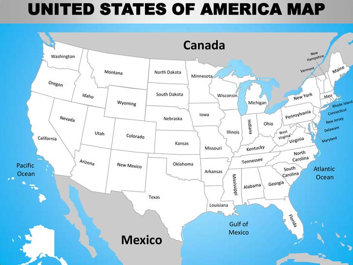 Canada and us map with gulf of mexico