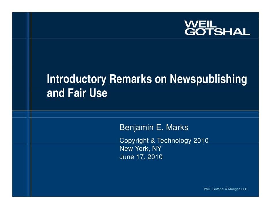 Ben Marks, Weil Gotshal & Manges
