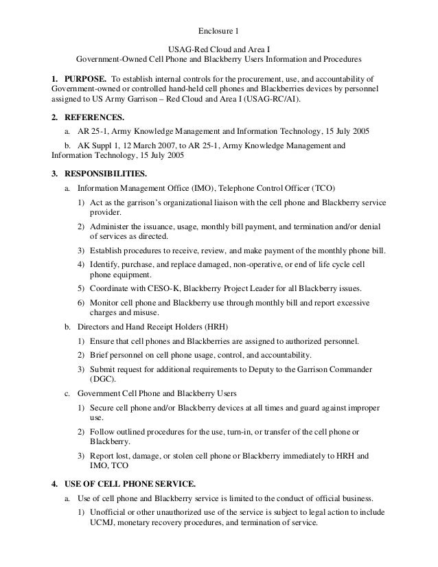 USAG Red Cloud Command Policy 1-12 Blackberry Usage Policy Letter Encl 1 Users Information and Procedures