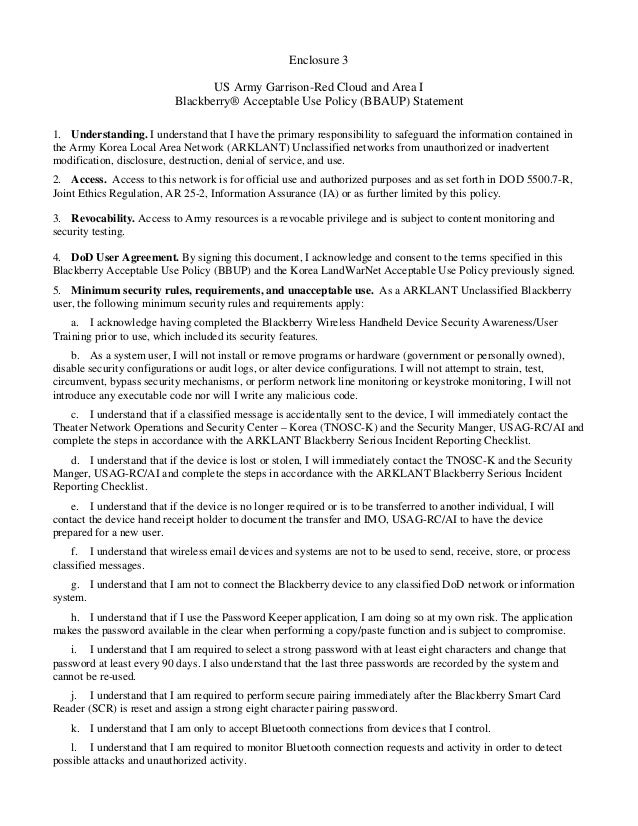USAG Red Cloud Command Policy 1-12 Blackberry Usage Policy Letter Encl 3 Blackberry AUP Memo