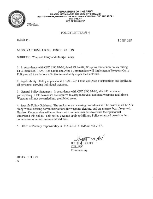 USAG Red Cloud Command Policy 5-04 Weapons Carry and Storage Policy