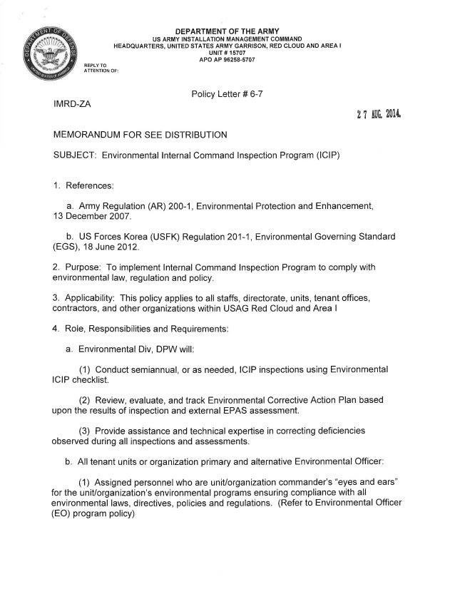 USAG Red Cloud Command Policy 6-07 Internal Command Inspection Program Policy