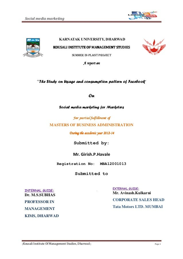 Social media marketing [Kousali Institute Of Management Studies, Dharwad ] Page 1 KARNATAK UNIVERSITY, DHARWAD KOUSALI INS...